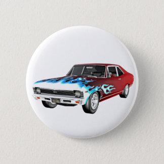 Badge Rond 5 Cm 1968 voitures blanches et bleues rouges de muscle