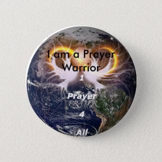 Badge Rond 5 Cm 1prayer4all14, je suis un guerrier de prière