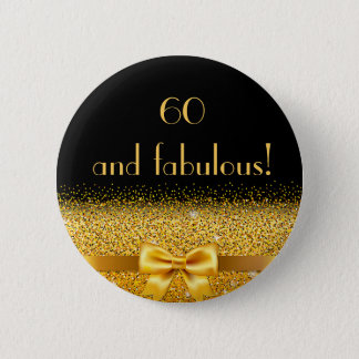 Badge Rond 5 Cm 60 et noir élégant fabuleux d'étincelle d'arc d'or