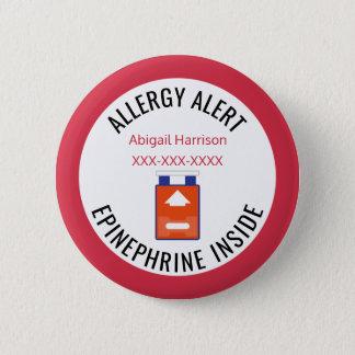 Badge Rond 5 Cm Adrénaline vigilante médicale d'allergie d'enfants