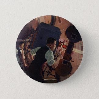 Badge Rond 5 Cm Affaires vintages, projectionniste de salle de