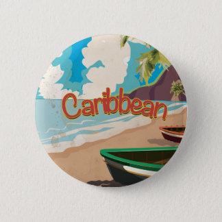 Badge Rond 5 Cm Affiche vintage des Caraïbes de voyage de plage