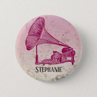 Badge Rond 5 Cm Aficionado rose de phonographe