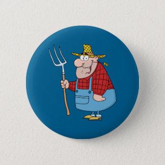 Badge Rond 5 Cm Agriculteur avec la fourche