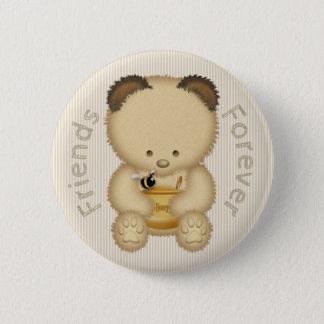 Badge Rond 5 Cm Amis d'ours et d'abeille de miel pour toujours