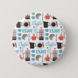 Badge Rond 5 Cm Amour de café et motif de café