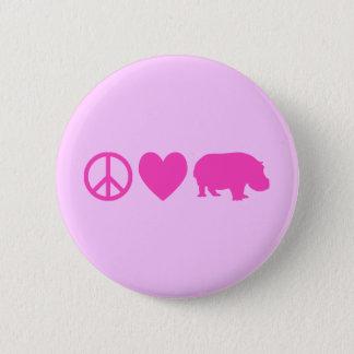 Badge Rond 5 Cm Amour rose et hippopotames de paix