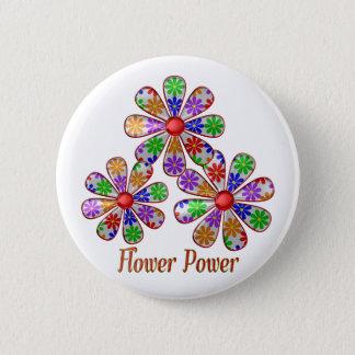 Badge Rond 5 Cm Amusement flower power