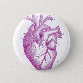 Badge Rond 5 Cm Anatomie vintage pourpre de coeur