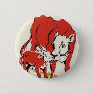 Badge Rond 5 Cm Animaux de ferme vintages, maman Cow avec son veau