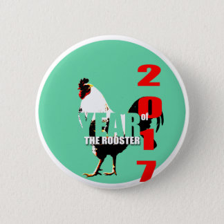 Badge Rond 5 Cm Année 2017 de coq dans le bouton vert du cercle R