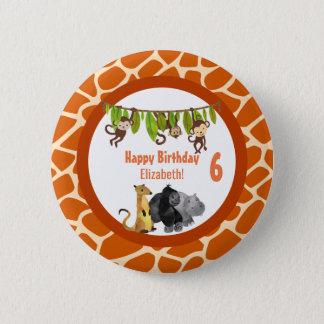 Badge Rond 5 Cm Anniversaire animal de thème de jungle de safari