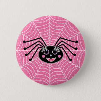 Badge Rond 5 Cm Araignée mignonne de Girlie sur le Web
