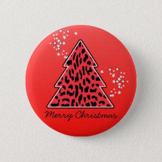 Badge Rond 5 Cm Arbre de Noël rouge de guépard de léopard