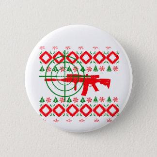 Badge Rond 5 Cm Arme à feu laide de Noël