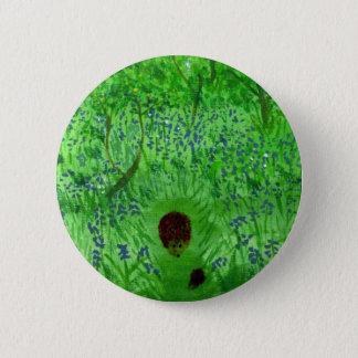 Badge Rond 5 Cm Art en bois de hérissons de jacinthe des bois
