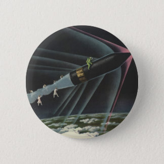 Badge Rond 5 Cm Astronaute vintage de la science-fiction montant