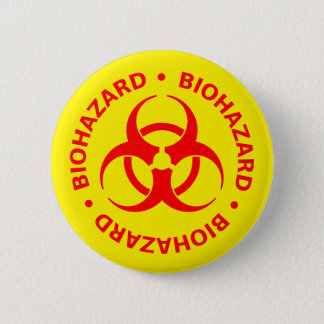 Badge Rond 5 Cm Avertissement rouge de Biohazard