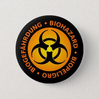 Badge Rond 5 Cm Avertissement trilingue de Biohazard