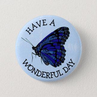 Badge Rond 5 Cm Ayez un bouton assez bleu merveilleux de papillon
