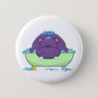 Badge Rond 5 Cm Baigner l'hippopotame pourpre