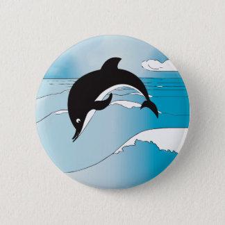 Badge Rond 5 Cm Bain avec des dauphins