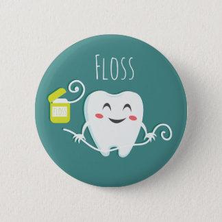 Badge Rond 5 Cm Balayez la norme de dentiste de dents, bouton rond