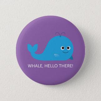 Badge Rond 5 Cm Baleine, bonjour là ! Bouton