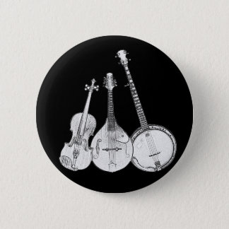 Badge Rond 5 Cm Bande de Bluegrass B&W
