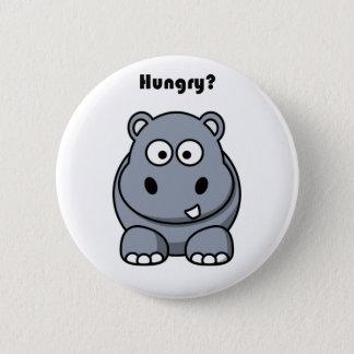 Badge Rond 5 Cm Bande dessinée affamée d'hippopotame