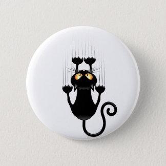 Badge Rond 5 Cm Bande dessinée drôle de chat noir rayant le mur