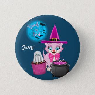 Badge Rond 5 Cm Bande dessinée rose de Halloween de chaton