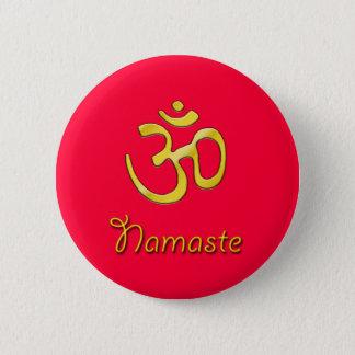 Badge Rond 5 Cm Base de bouton rouge de Namaste OM/chakra de