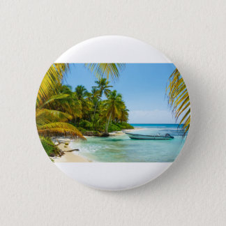 Badge Rond 5 Cm Bateau dans les Caraïbe