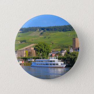 Badge Rond 5 Cm Bateau de croisière, Rudesheim, Allemagne