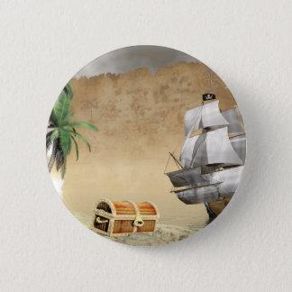 Badge Rond 5 Cm Bateau de pirate qui découvre un trésor
