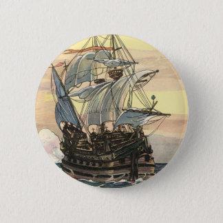 Badge Rond 5 Cm Bateau de pirate vintage, navigation de galion sur