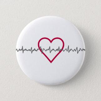 Badge Rond 5 Cm Battement de coeur