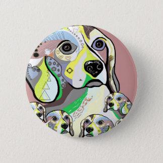 Badge Rond 5 Cm Beagle et palette de couleurs molle de bébés