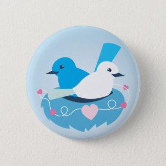 Badge Rond 5 Cm Beau blanc bleu de roitelet d'inséparables