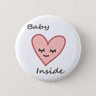 Badge Rond 5 Cm Bébé à l'intérieur de rose mignon de femme