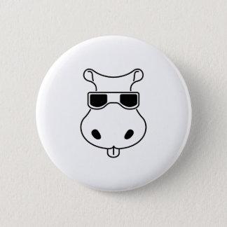 Badge Rond 5 Cm Bébé de Fiona d'hippopotames d'amour de lunettes