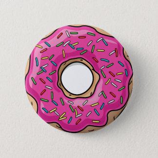 Badge Rond 5 Cm Beignet arrosé par rose délicieux juteux