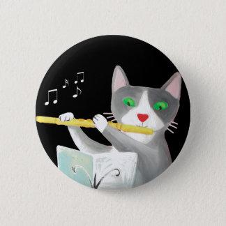 Badge Rond 5 Cm Benny le chat de joueur de cannelure