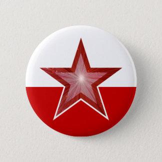 Badge Rond 5 Cm blanc rouge de bouton rouge d'étoile