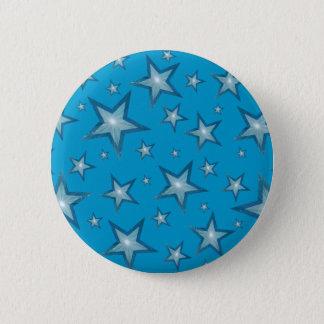 Badge Rond 5 Cm Bleu de bouton d'étoiles bleues