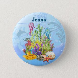 Badge Rond 5 Cm Bleu tropical de vie marine