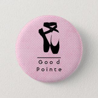 Badge Rond 5 Cm Bon Pointe. En noire Pointe de chaussures de