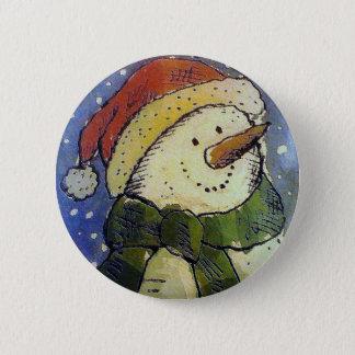 Badge Rond 5 Cm Bonhomme de neige de Noël
