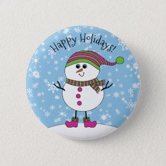 Badge Rond 5 Cm Bonhomme de neige fantaisie d'hiver bonnes fêtes